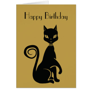 Feliz cumpleaños elegante del gato negro felicitación