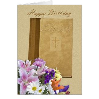 Feliz cumpleaños Elizabeth, libro de oración y flo