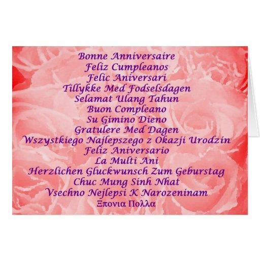 Feliz cumpleaños en 16 idiomas tarjetón