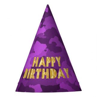 Feliz cumpleaños en Camo púrpura Gorro De Fiesta