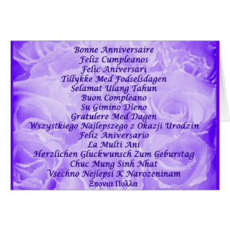 Feliz cumpleaños en muchas idiomas tarjeta pequeña