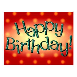 Feliz cumpleaños en rojo colorido y turquesa postal