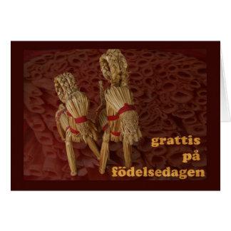 Feliz cumpleaños en sueco tarjeta de felicitación
