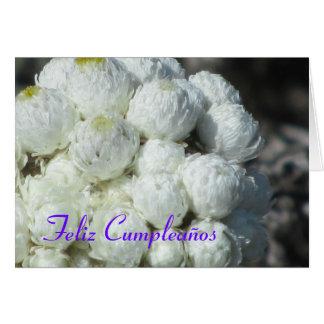 Feliz Cumpleaños Flores Blancas Tarjeta De Felicitación