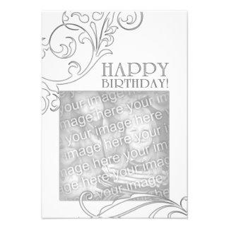 feliz cumpleaños (flourish elegante) invitacion personalizada