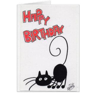 Feliz cumpleaños - gato negro del dibujo animado tarjeton