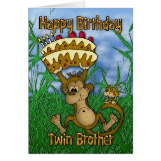 Feliz cumpleaños gemelo de Brother con el mono que Felicitacion