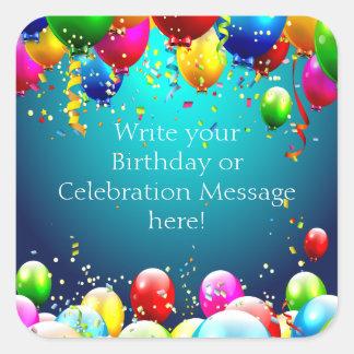 Feliz cumpleaños - globos coloreados azul - pegatina cuadrada