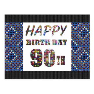 feliz cumpleaños happybirthday que saluda 90 90.o postal