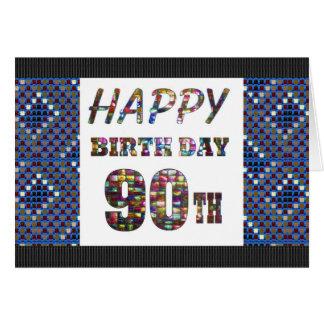feliz cumpleaños happybirthday que saluda 90 90.o tarjeta de felicitación