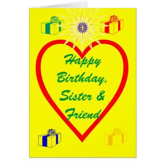 Feliz cumpleaños, hermana y amigo tarjeta de felicitación