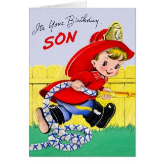 Feliz cumpleaños - hijo del bombero tarjeta pequeña