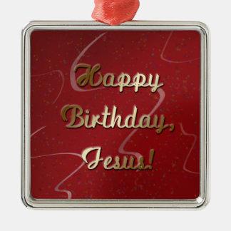 Feliz cumpleaños Jesús Adorno Navideño Cuadrado De Metal