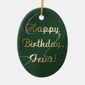Feliz cumpleaños Jesús Adorno Navideño Ovalado De Cerámica