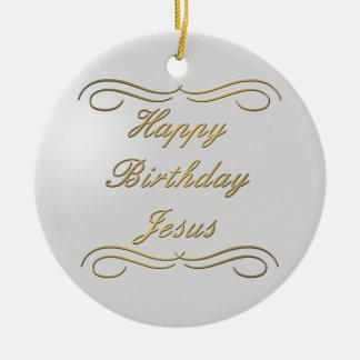Feliz cumpleaños Jesús Adorno Navideño Redondo De Cerámica