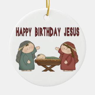 ¡Feliz cumpleaños Jesús! Adorno Navideño Redondo De Cerámica
