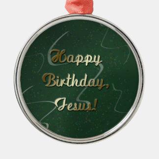 Feliz cumpleaños Jesús Adorno Navideño Redondo De Metal