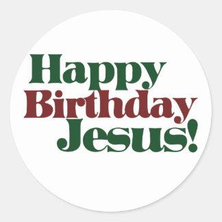 Feliz cumpleaños Jesús es navidad Etiqueta