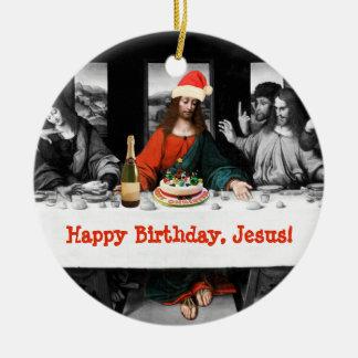¡Feliz cumpleaños, Jesús! Navidad divertido Adorno Navideño Redondo De Cerámica
