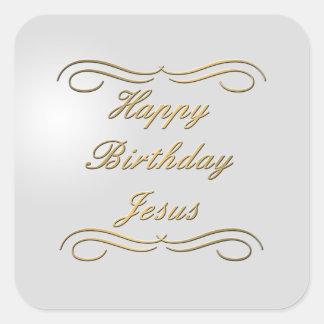 Feliz cumpleaños Jesús Calcomania Cuadrada Personalizada