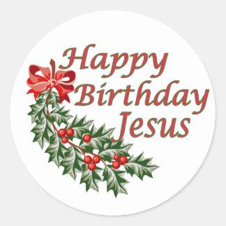 Feliz cumpleaños Jesús Pegatina Redonda