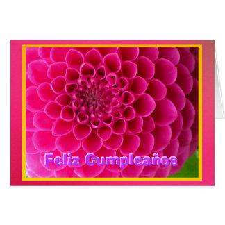Feliz Cumpleaños - La Dalia Rosa Tarjeta De Felicitación