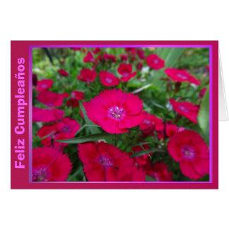 Feliz Cumpleaños - Las Flores Rojas Tarjetón