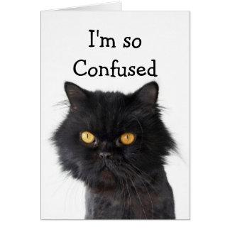 Feliz cumpleaños negro confuso del gato persa tarjeta de felicitación