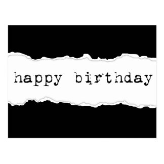 feliz cumpleaños (papel rasgado) postal