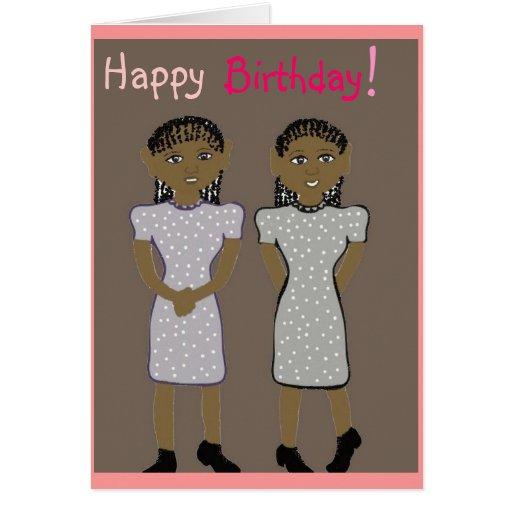 Feliz cumpleaños para la tarjeta de los gemelos
