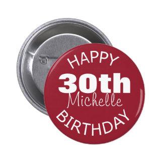 Feliz cumpleaños personalizado chapa redonda 5 cm