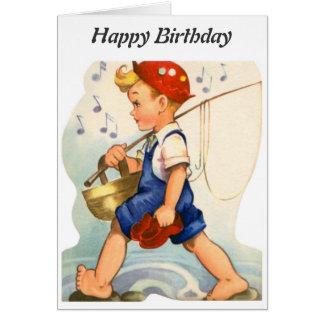 Feliz cumpleaños - pescador joven tarjeton