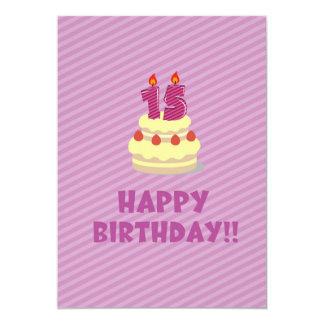 ¡Feliz cumpleaños!! (por 15 años) Invitación 12,7 X 17,8 Cm