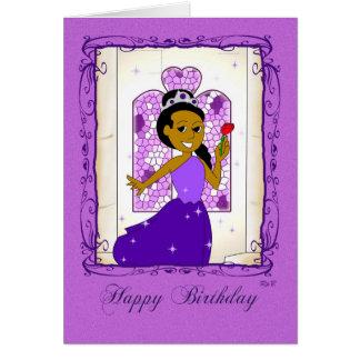 Feliz cumpleaños: Princesa púrpura Tarjeta De Felicitación