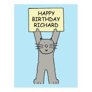 Feliz cumpleaños Richard, gato lindo Postal