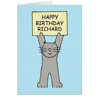 Feliz cumpleaños Richard, gato lindo Tarjeta De Felicitación