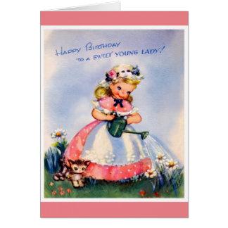 Feliz cumpleaños - señora joven dulce tarjeta de felicitación