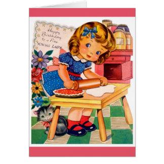 Feliz cumpleaños - señora joven fina tarjeta de felicitación