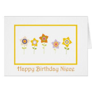 Feliz cumpleaños, sobrina, flores tarjeta de felicitación