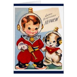 Feliz cumpleaños - sobrino - astronauta joven tarjeta de felicitación