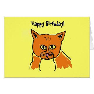 ¡Feliz cumpleaños! Tarjeta fresca del gato