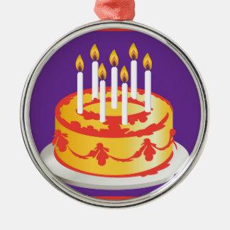 ¡Feliz cumpleaños! Torta de cumpleaños amarilla de Adornos