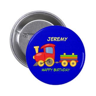 Feliz cumpleaños, tren del juguete, plantilla chapa redonda 5 cm