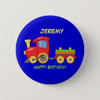 Feliz cumpleaños, tren del juguete, plantilla chapa redonda de 5 cm