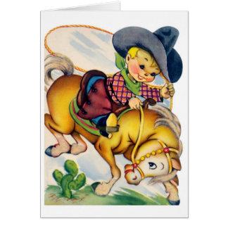 Feliz cumpleaños - vaquero joven tarjeta de felicitación