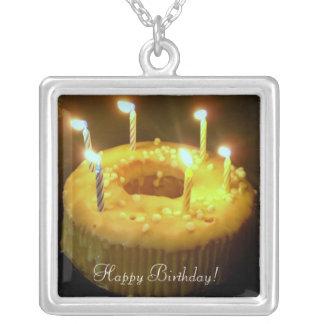 ¡Feliz cumpleaños! velas del cumpleaños del txt Colgante Personalizado