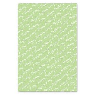Feliz cumpleaños verde claro papel de seda