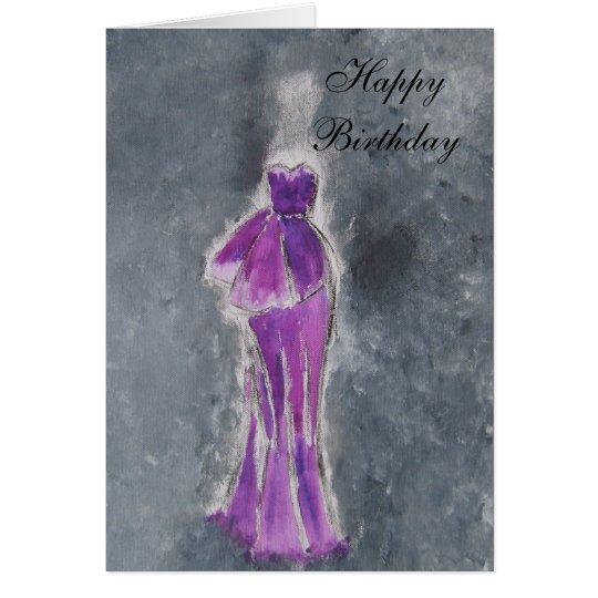 Feliz cumpleaños (vestido púrpura) tarjeta de felicitación
