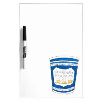 Feliz de servirle el tablero griego azul de la