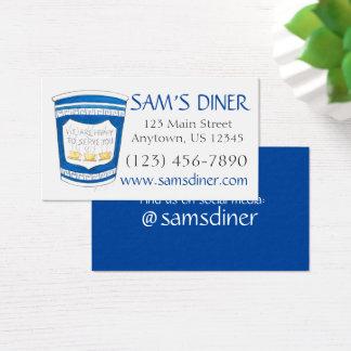 Feliz de servirle la comida griega del comensal de tarjeta de visita